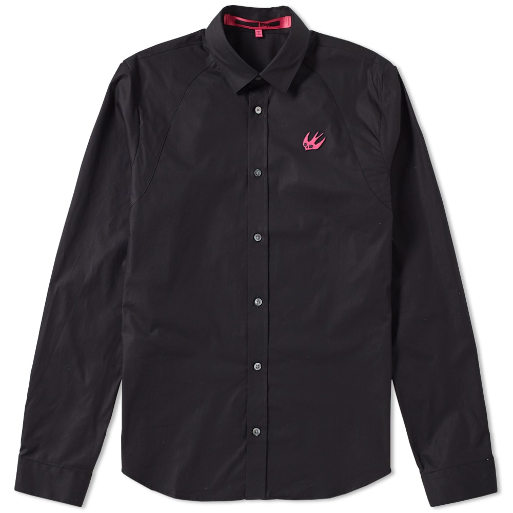 05935bf39f2 McQ by Alexander McQueen Swallow Harness Shirt Darkest Black   Iconic Pink