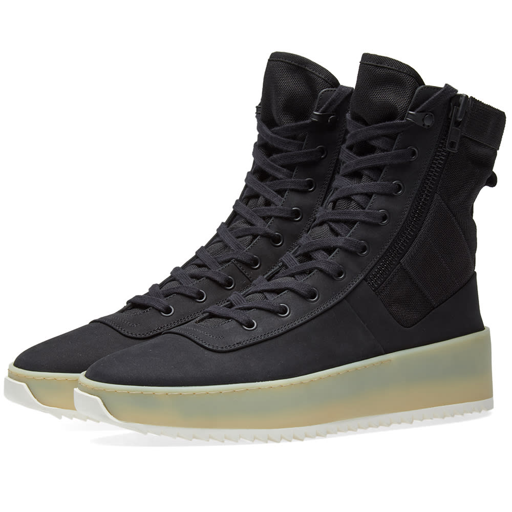 FEAR OF GOD Jungle Nylon & Leather Sneakers - Black Size 12 M