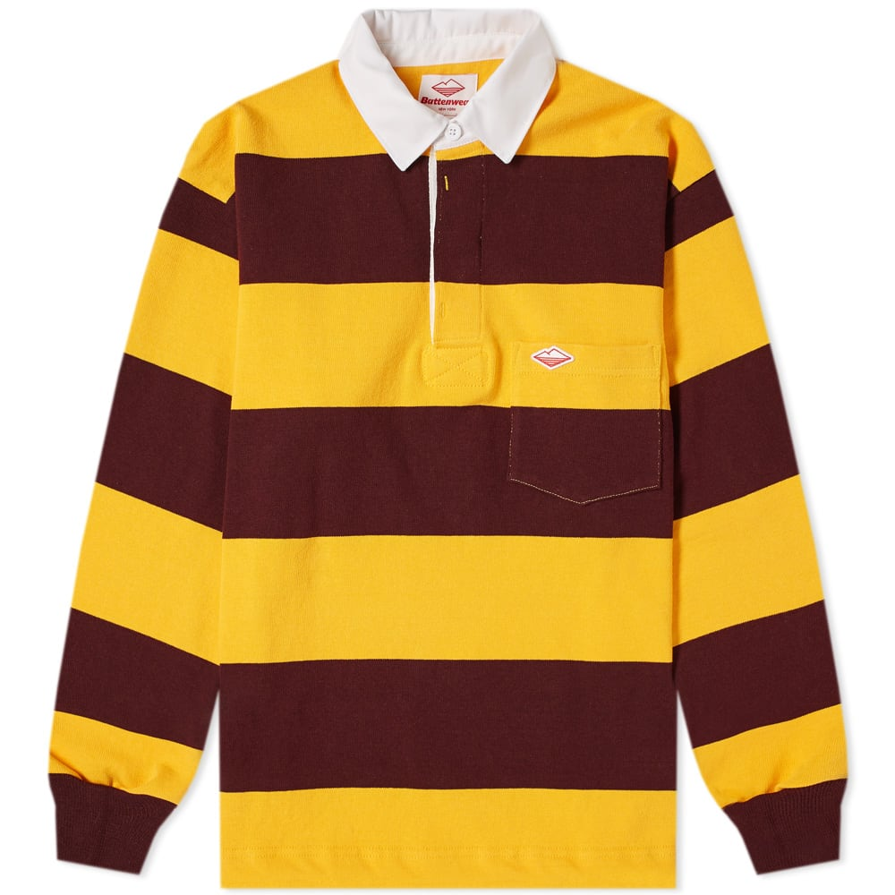 BATTENWEAR Striped Cotton-Jersey Polo Shirt - Saffron in Yellow
