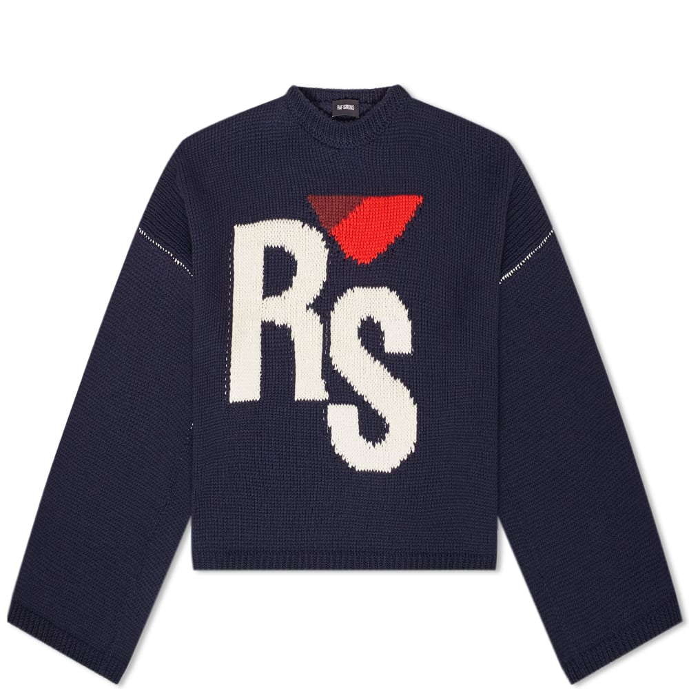 Raf Simons Knits Raf Simons Cropped Oversized RS Crew Knit