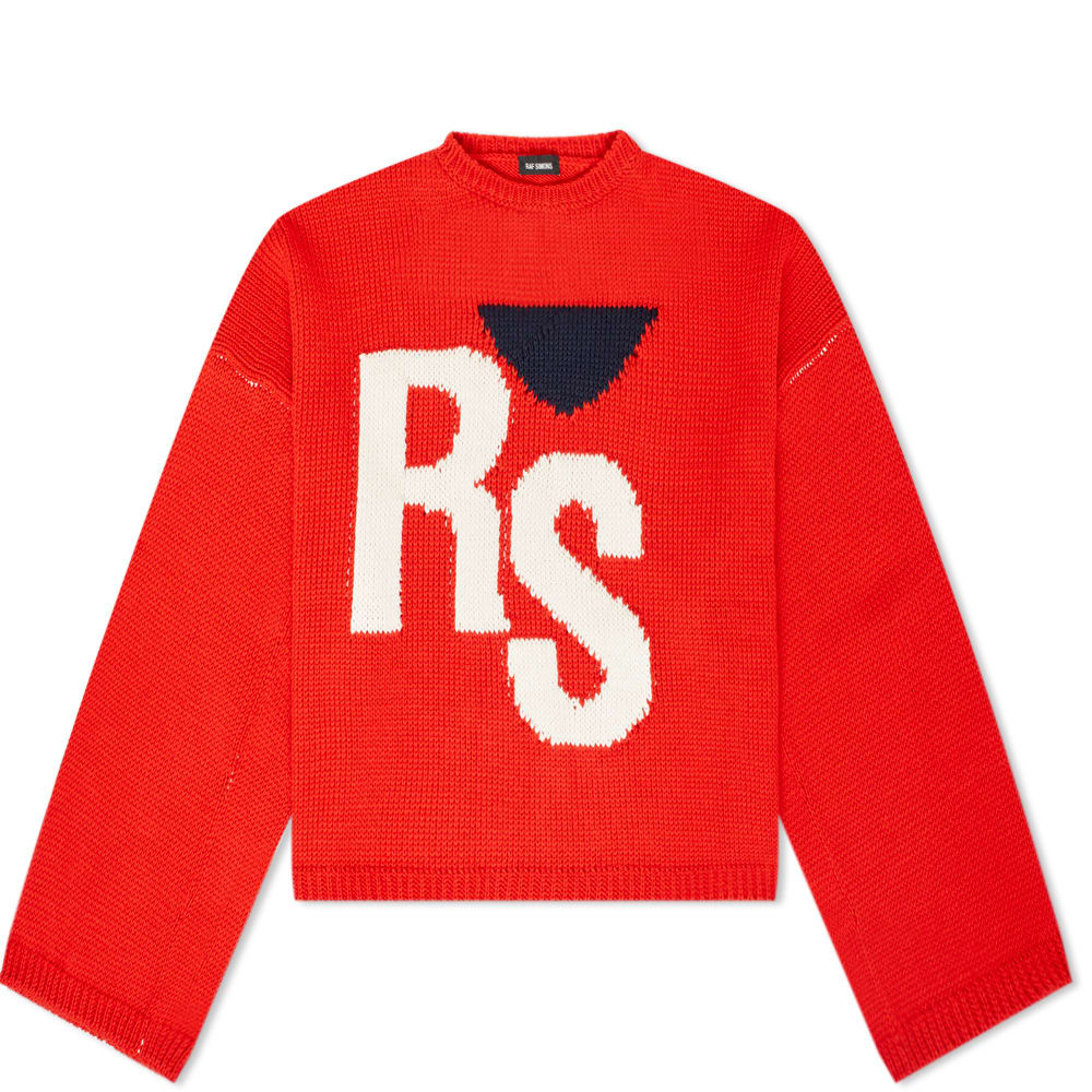 Raf Simopn Cropped Oversized RS Crew Knit