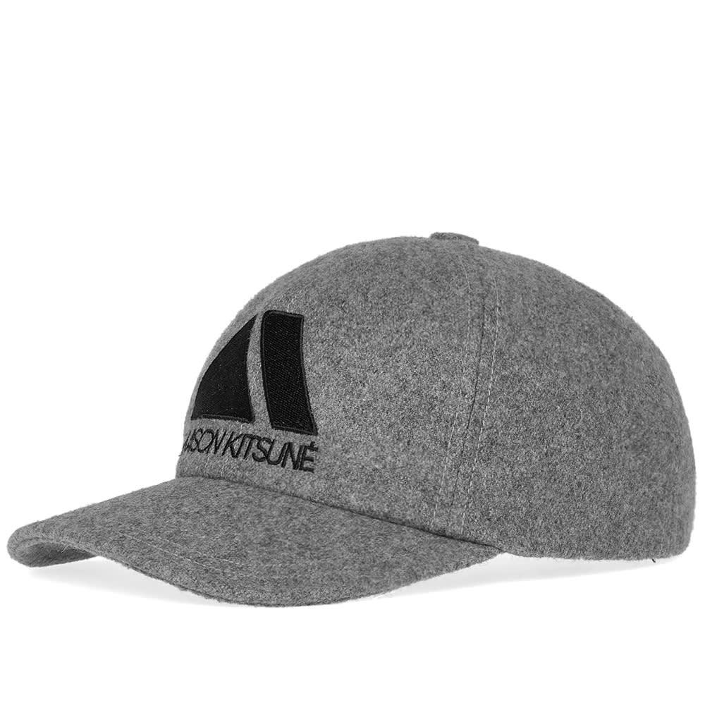 85eafa0c9e12a7 Maison KitsunÉ Light Grey Wool Blend 6P Triangle Baseball Cap ...