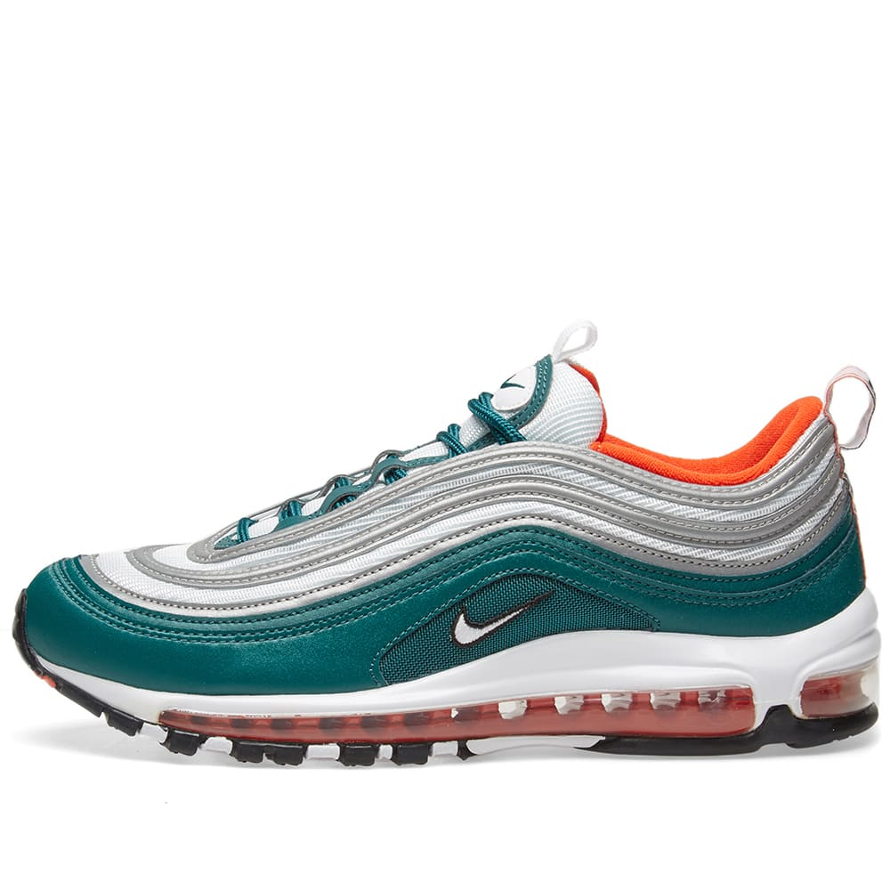 Details about Nike Air Max 97 (RainforestWhite Team Orange Black) Men's Shoes 921826 300