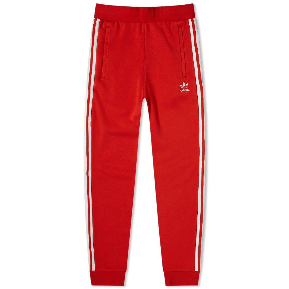 adidas 3 stripes pants red