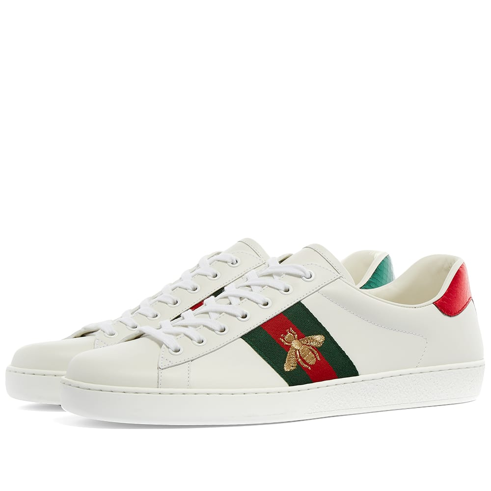 Gucci New Ace GRG Bee Sneaker White | END.