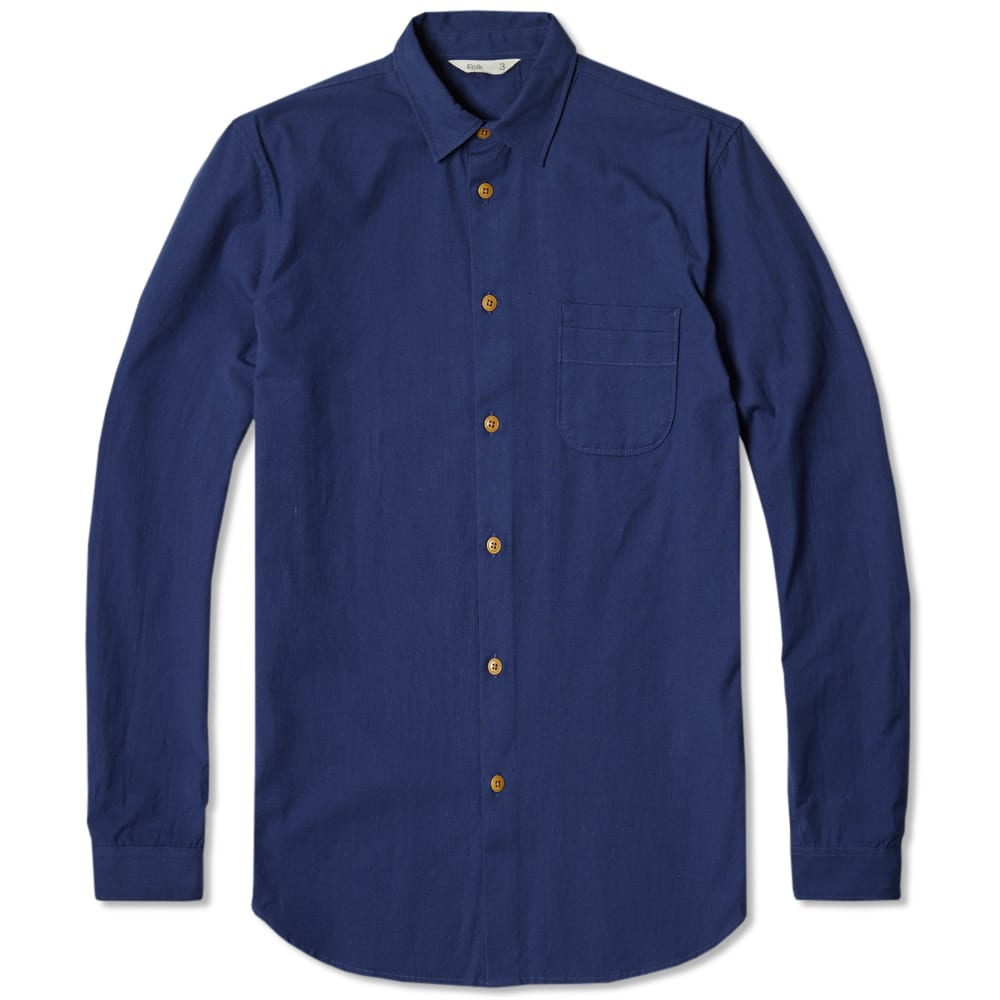 Folk Shoulder Patch Shirt in Blue for