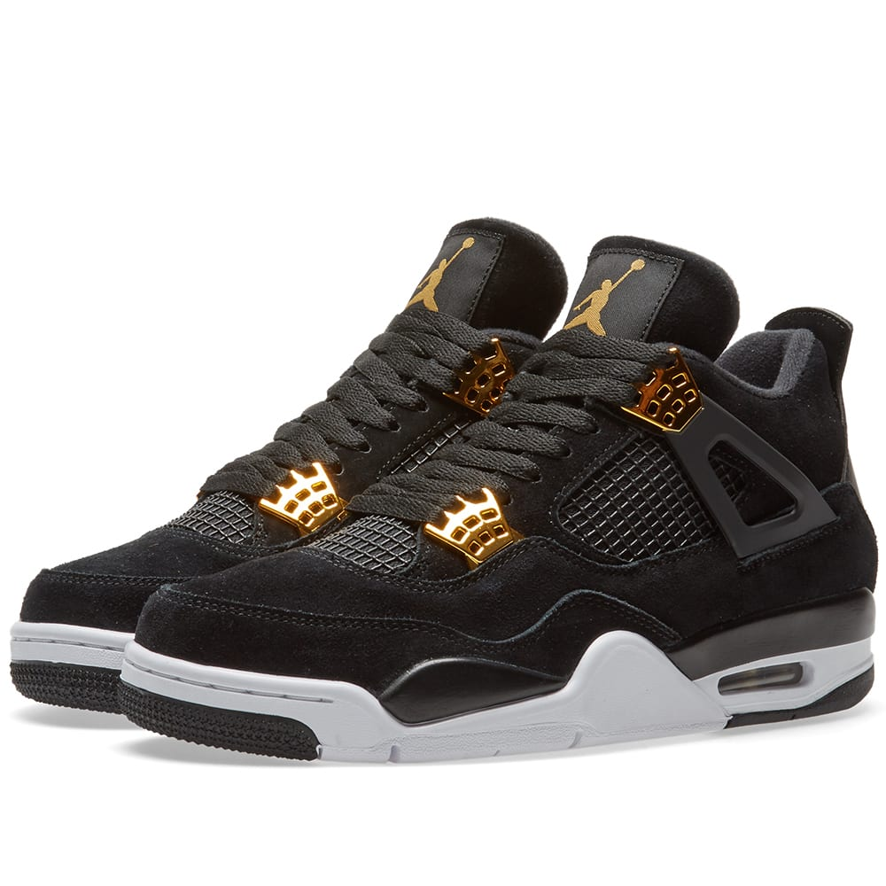 nike air jordan 4 retro 39 royalty 39 black metallic gold. Black Bedroom Furniture Sets. Home Design Ideas