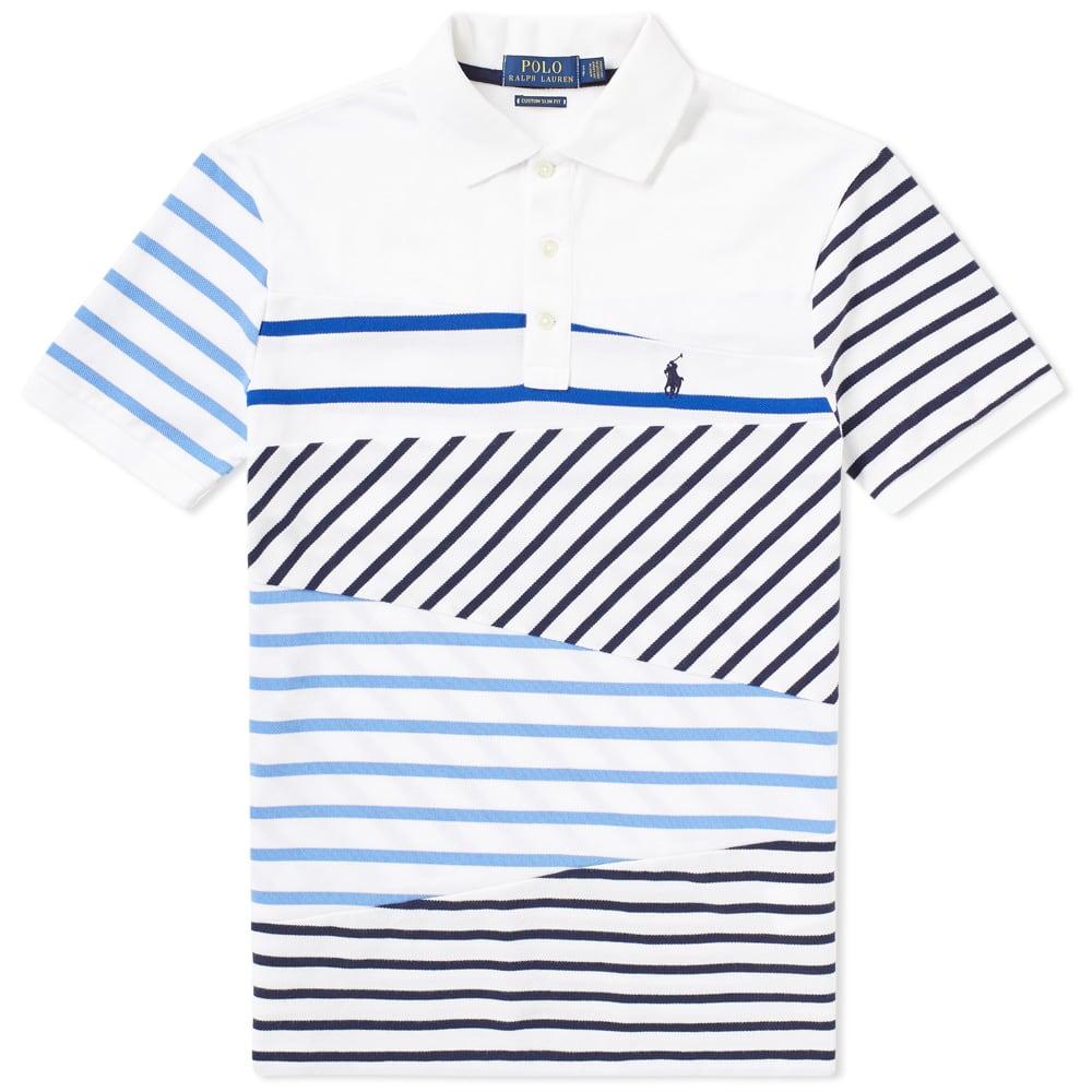 Polo Ralph Lauren Cut Sew Stripe Polo In Blue Modesens