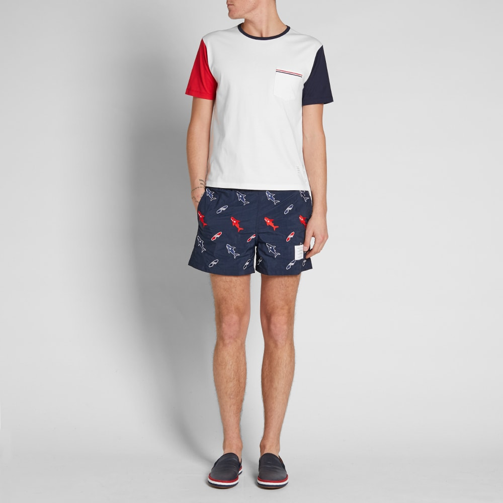 2bb6bc5f5c Thom Browne Embroidered Shark & Surfboard Swim Short Navy | END.