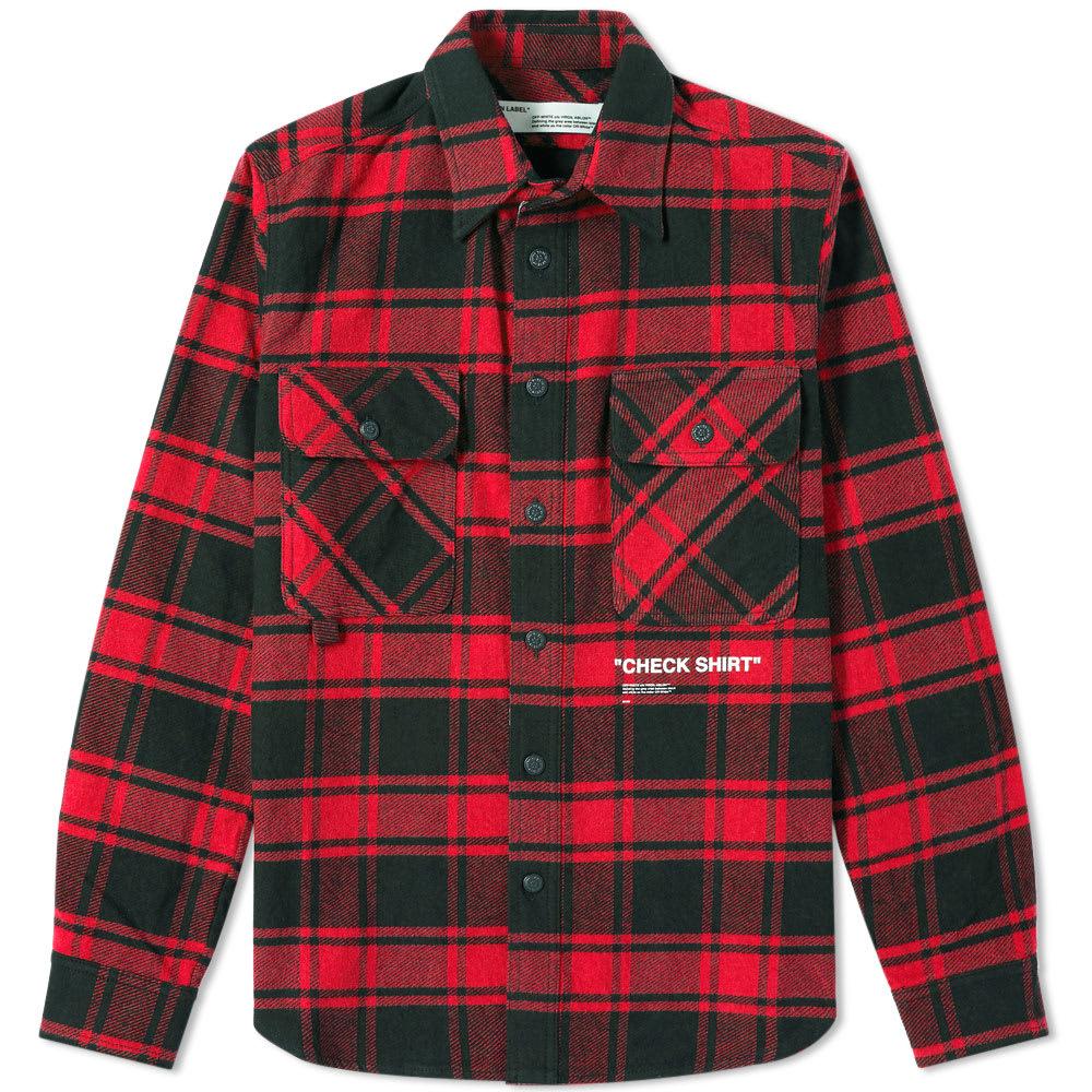 e5512c287f5e Off-White Quote Flannel Shirt Red   White