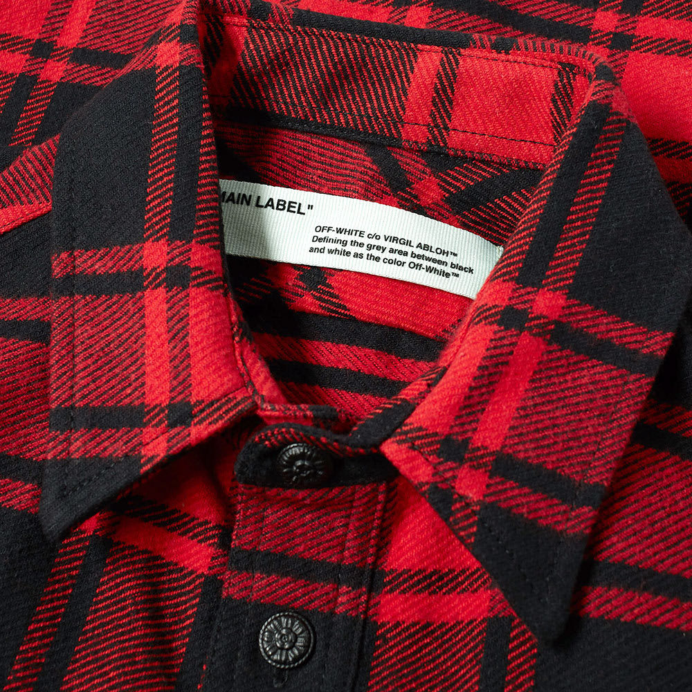 aa367a91e0bc Off-White Quote Flannel Shirt Red   White