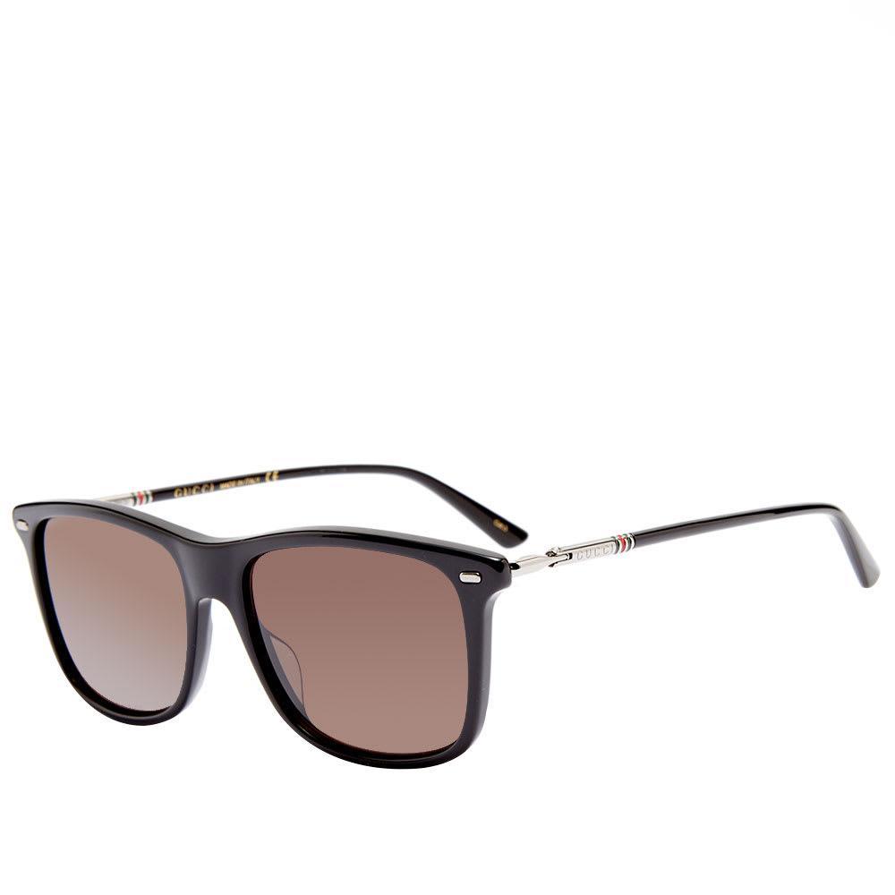 11dbe33398a3 Gucci Cylindrical Web Square Frame Sunglasses Black, Ruthenium & Grey | END.