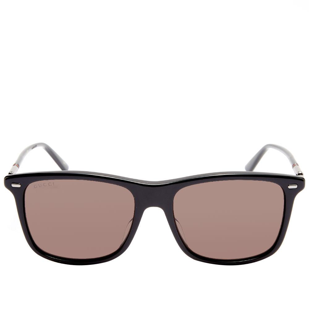 7a07e478fb Gucci Cylindrical Web Square Frame Sunglasses Black