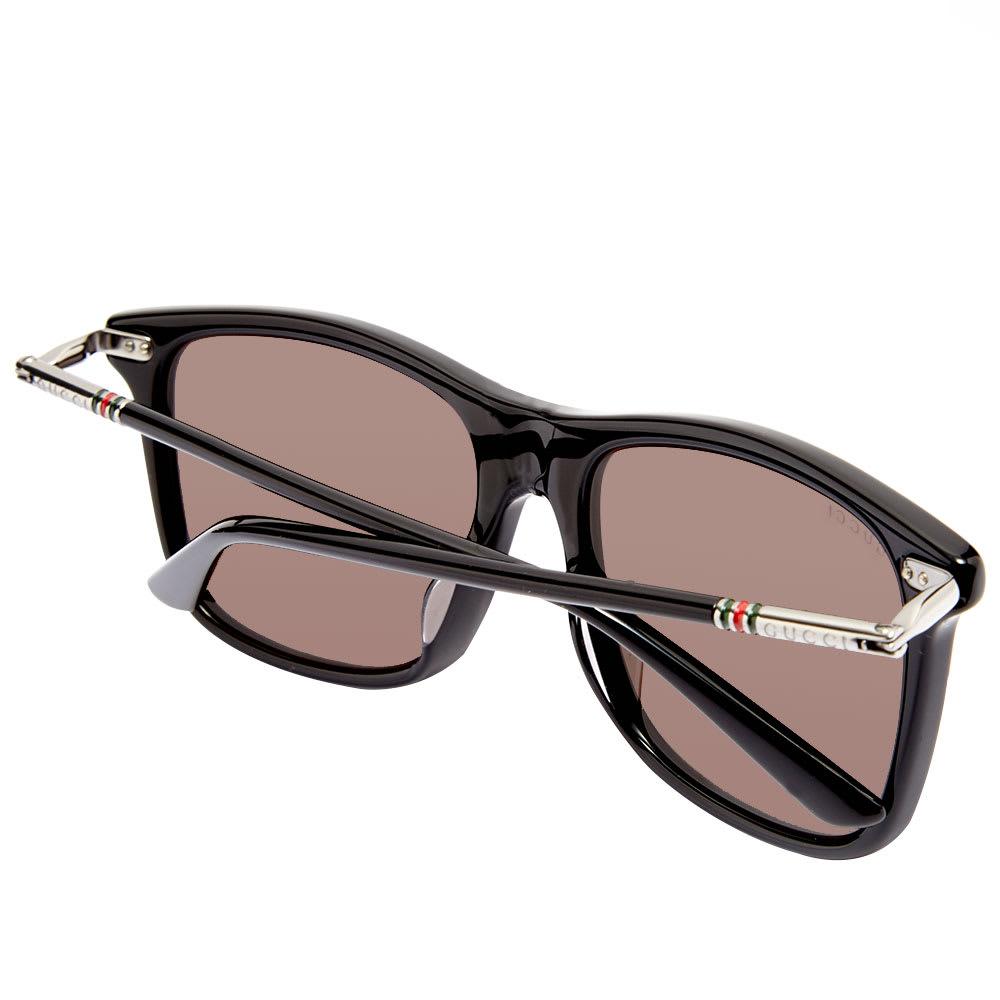60cef7e21 Gucci Cylindrical Web Square Frame Sunglasses. Black, Ruthenium & Grey