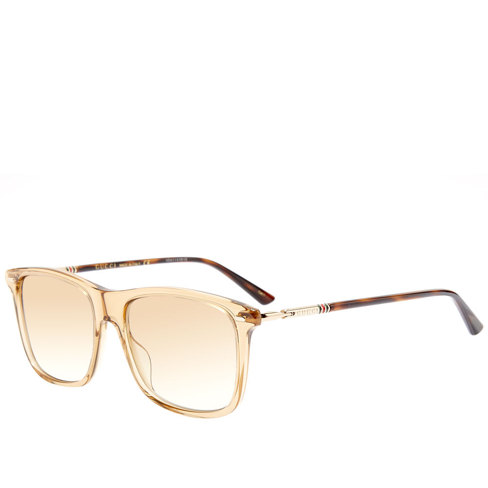 60880f7cb3c7 Gucci Cylindrical Web Square Frame Sunglasses Brown & Gold | END.