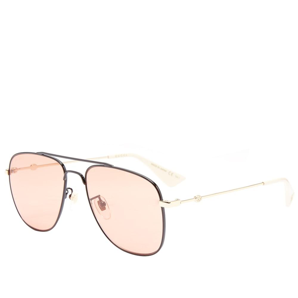 fdd06c53db3c Gucci Web Block Aviator Sunglasses Black, Gold & Orange | END.