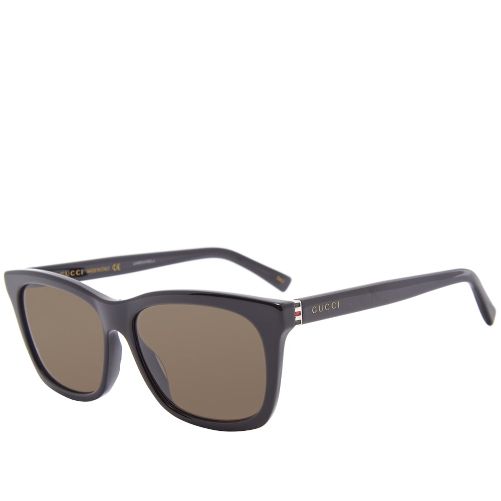 93550471c77d Gucci Web Plaque Square Frame Sunglasses Black, Gold & Brown | END.