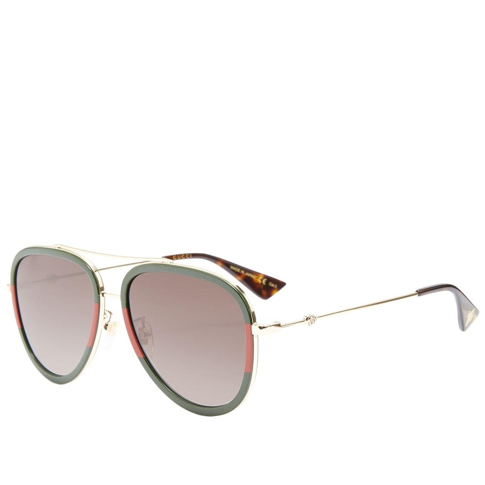 a2e2f7c49 Gucci Sylvie Web Block Aviator Sunglasses Red, Green & Gold | END.