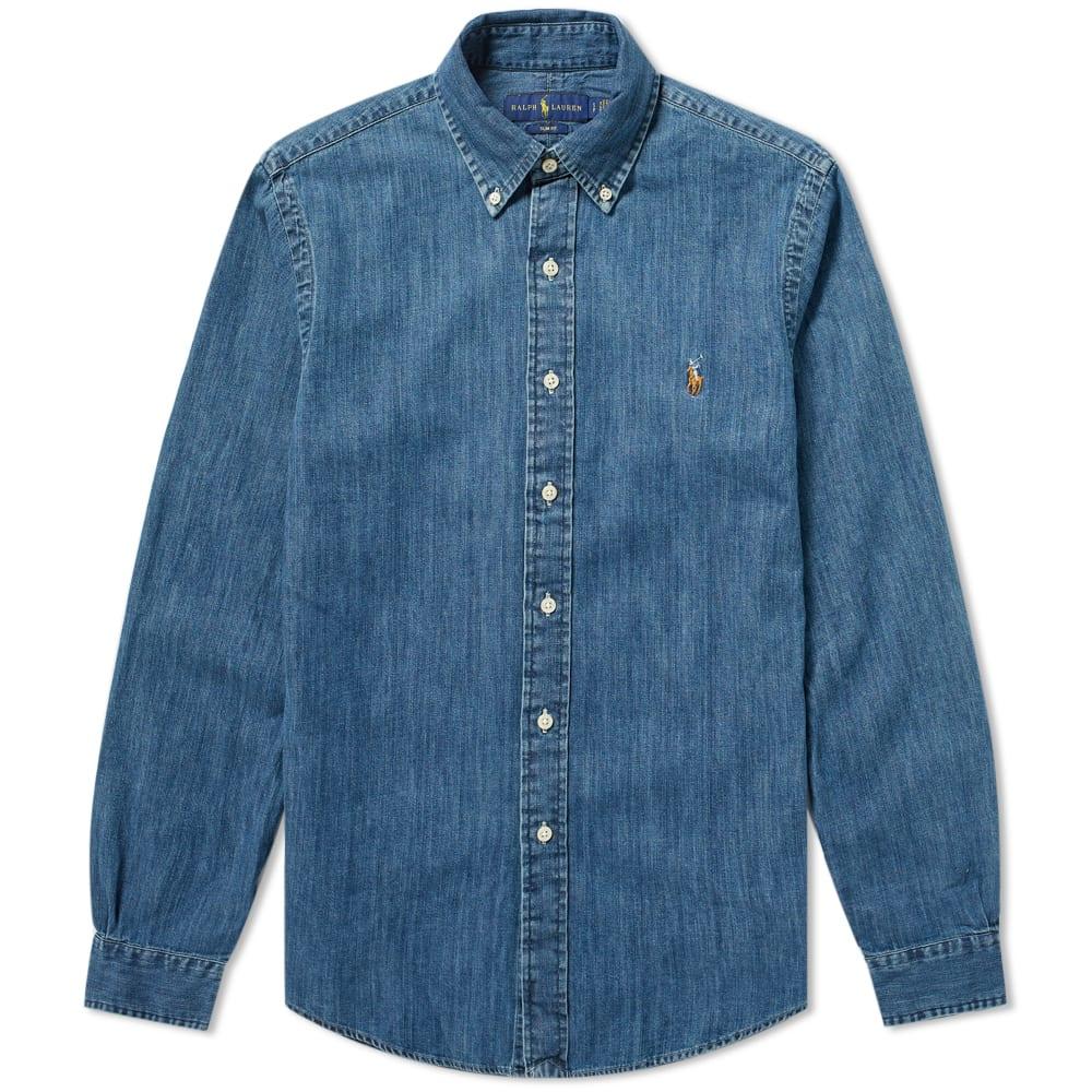 e2d8421ff Polo Ralph Lauren Slim Fit Button Down Denim Shirt. Dark Wash