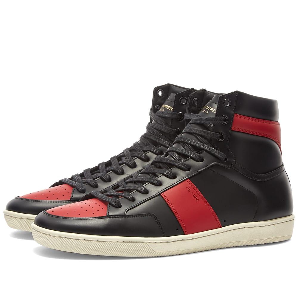 1671265ffd2 Saint Laurent SL-10H Court Classic Sneaker Black & Red   END.