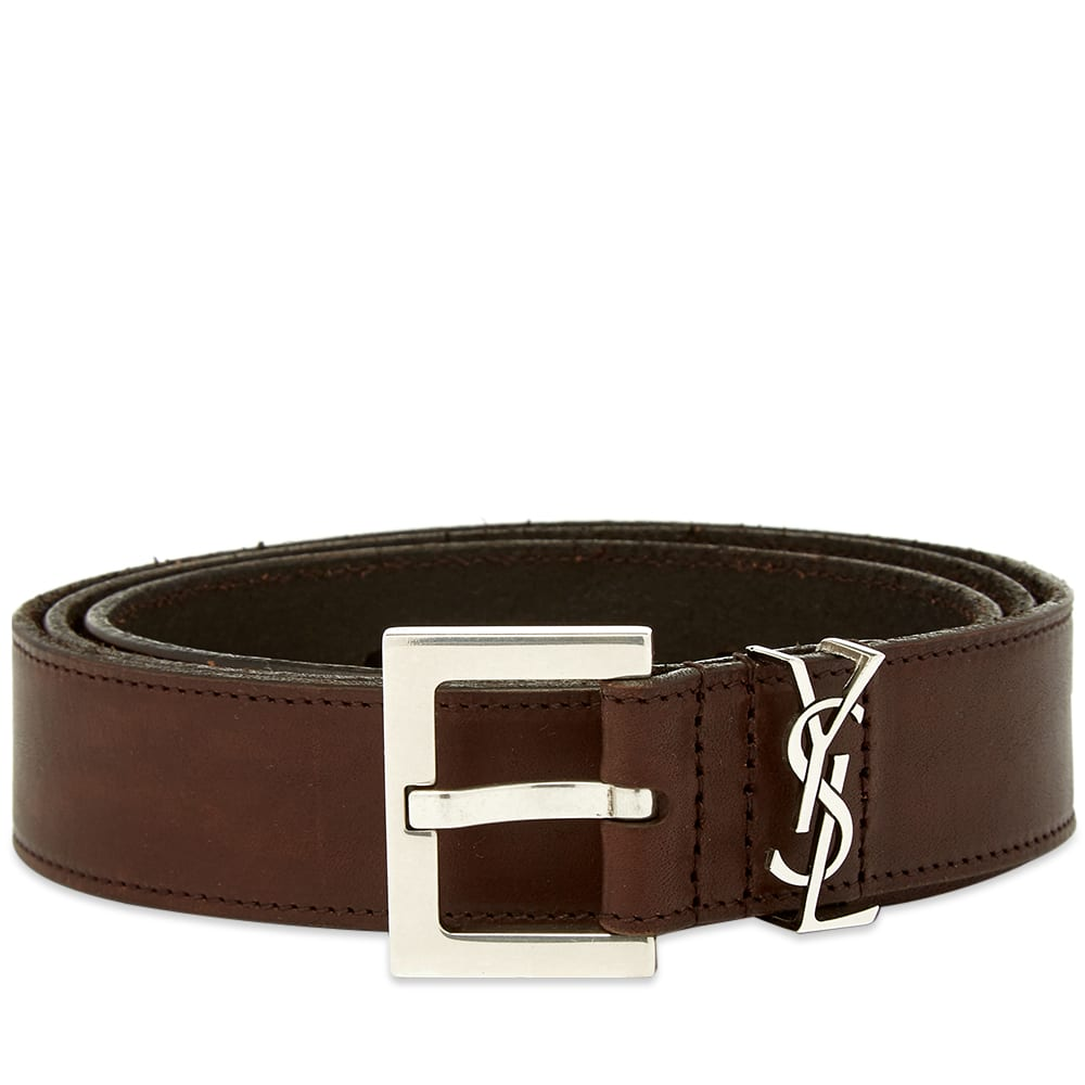 ee0a6bb75 Saint Laurent YSL Leather Belt Brown | END.