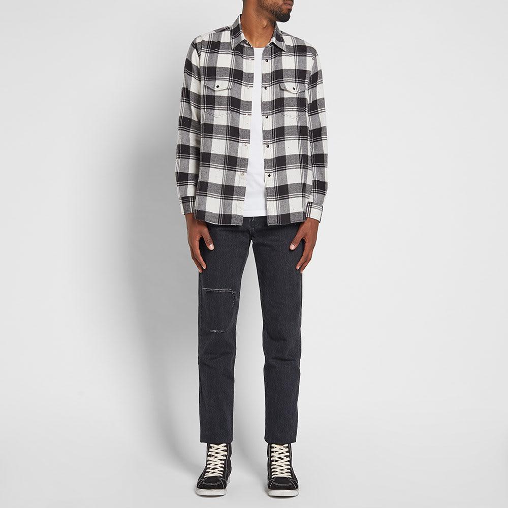 Saint Laurent Flannel Check Shirt Black White