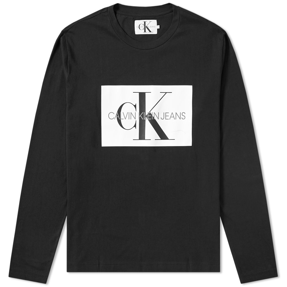 52a3c0a5276 Calvin Klein Long Sleeve Monogram Box Logo Tee CK Black