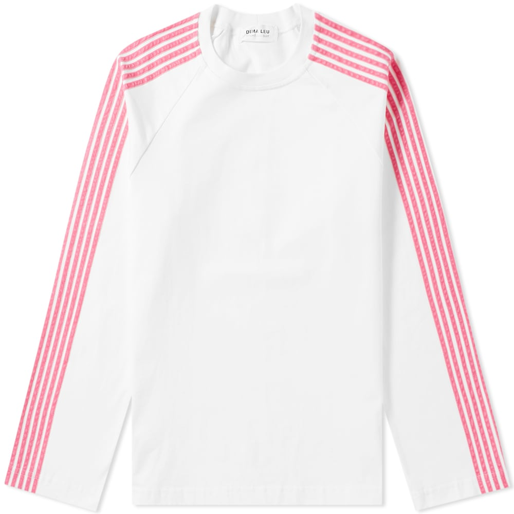 Dima Leu Long Sleeve Jersey Raglan Stripe Tee In White
