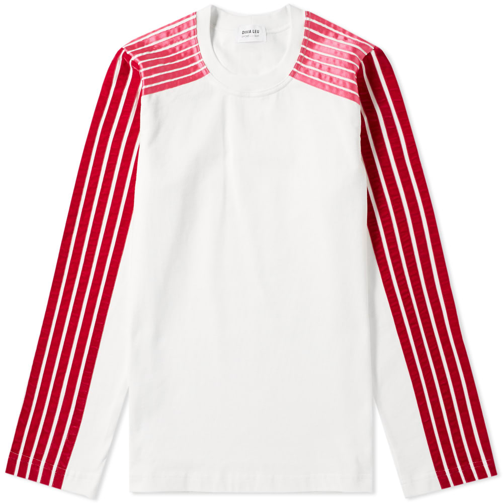 Dima Leu Long Sleeve Jersey Raglan Stripe Tee In Pink