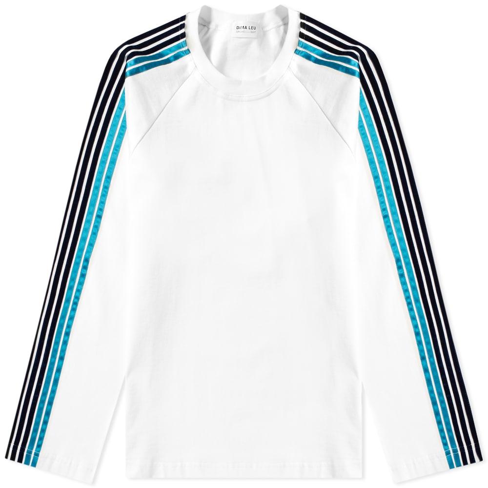 Dima Leu Long Sleeve Jersey Raglan Stripe Tee In White