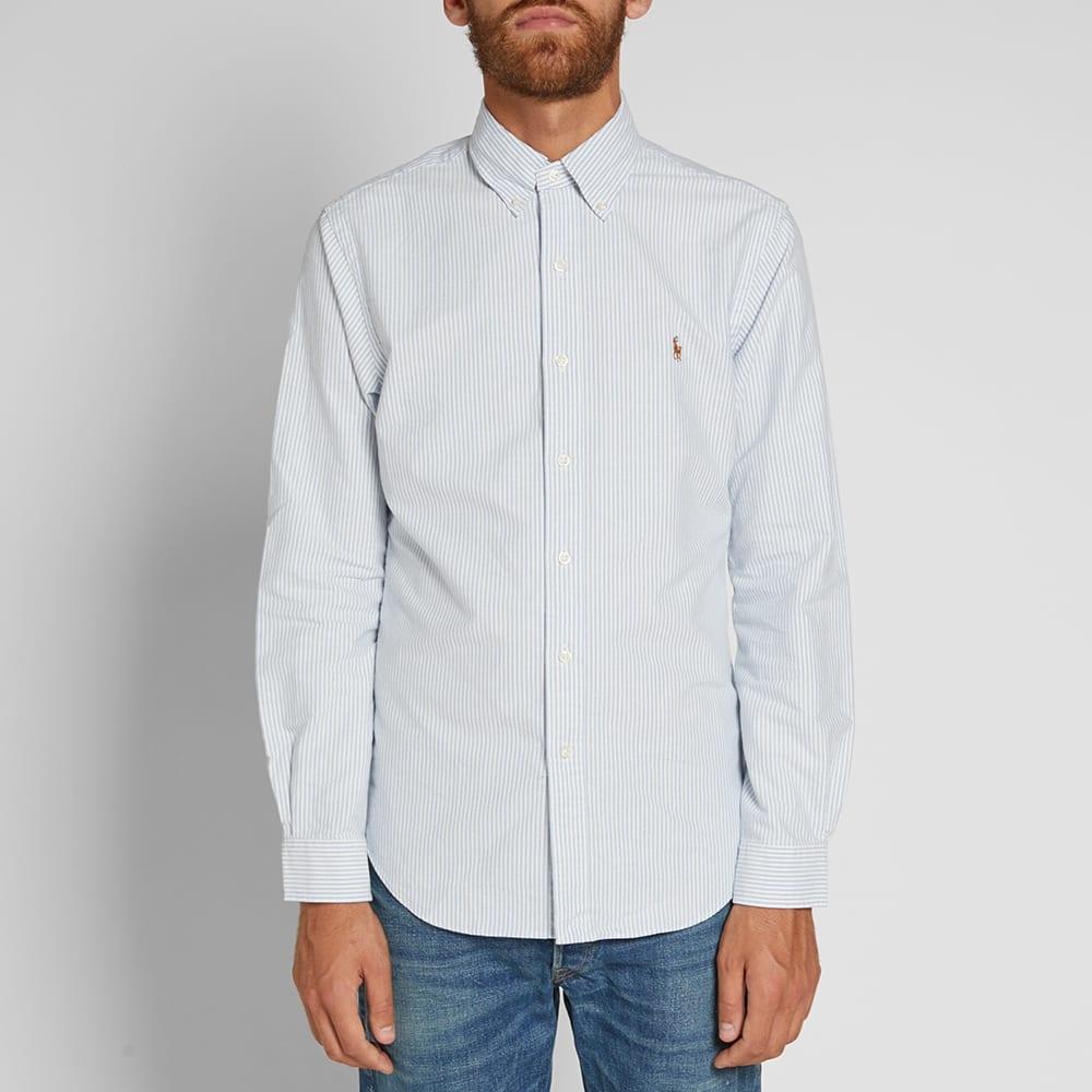 b1131050c Polo Ralph Lauren Slim Fit Button Down Stripe Oxford Shirt Blue & White    END.
