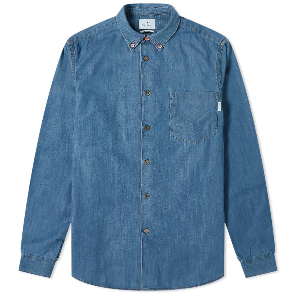 Paul Smith Paul Smith Multi Coloured Stitch Button Down Denim Shirt