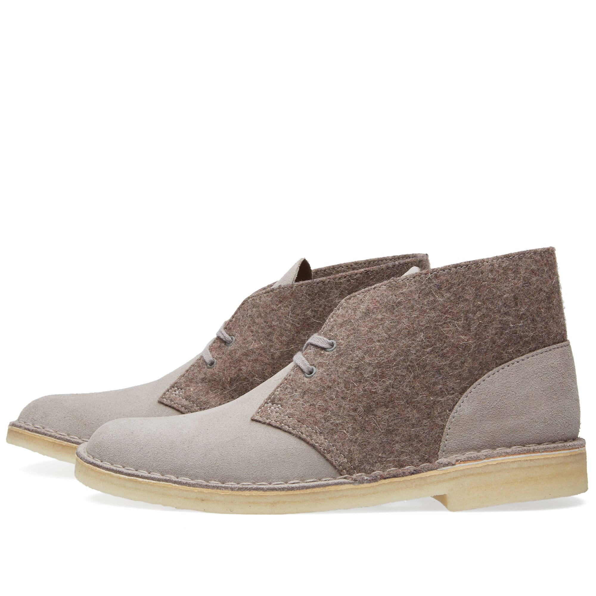 clarks originals desert boot grey felt. Black Bedroom Furniture Sets. Home Design Ideas