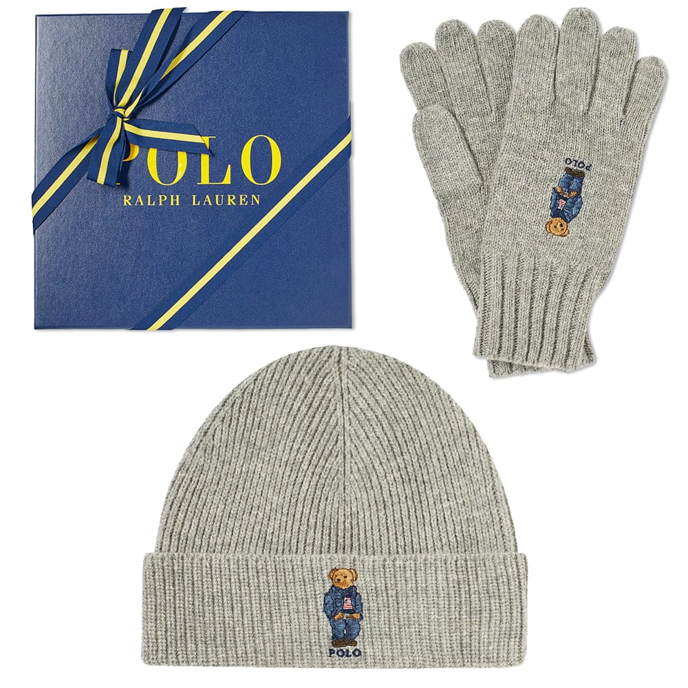 60f0b132835c2b Polo Ralph Lauren Classic Bear Glove & Hat Gift Box Grey Heather | END.