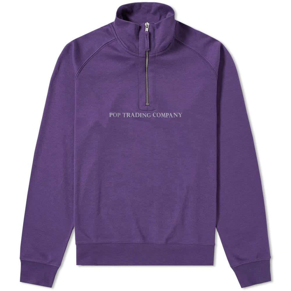 Pop Trading Company Logo Half Zip Sweat in Purple