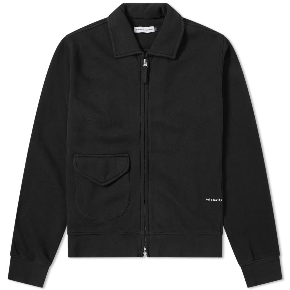 Pop Trading Company Double Zip Jersey Jacket in Black