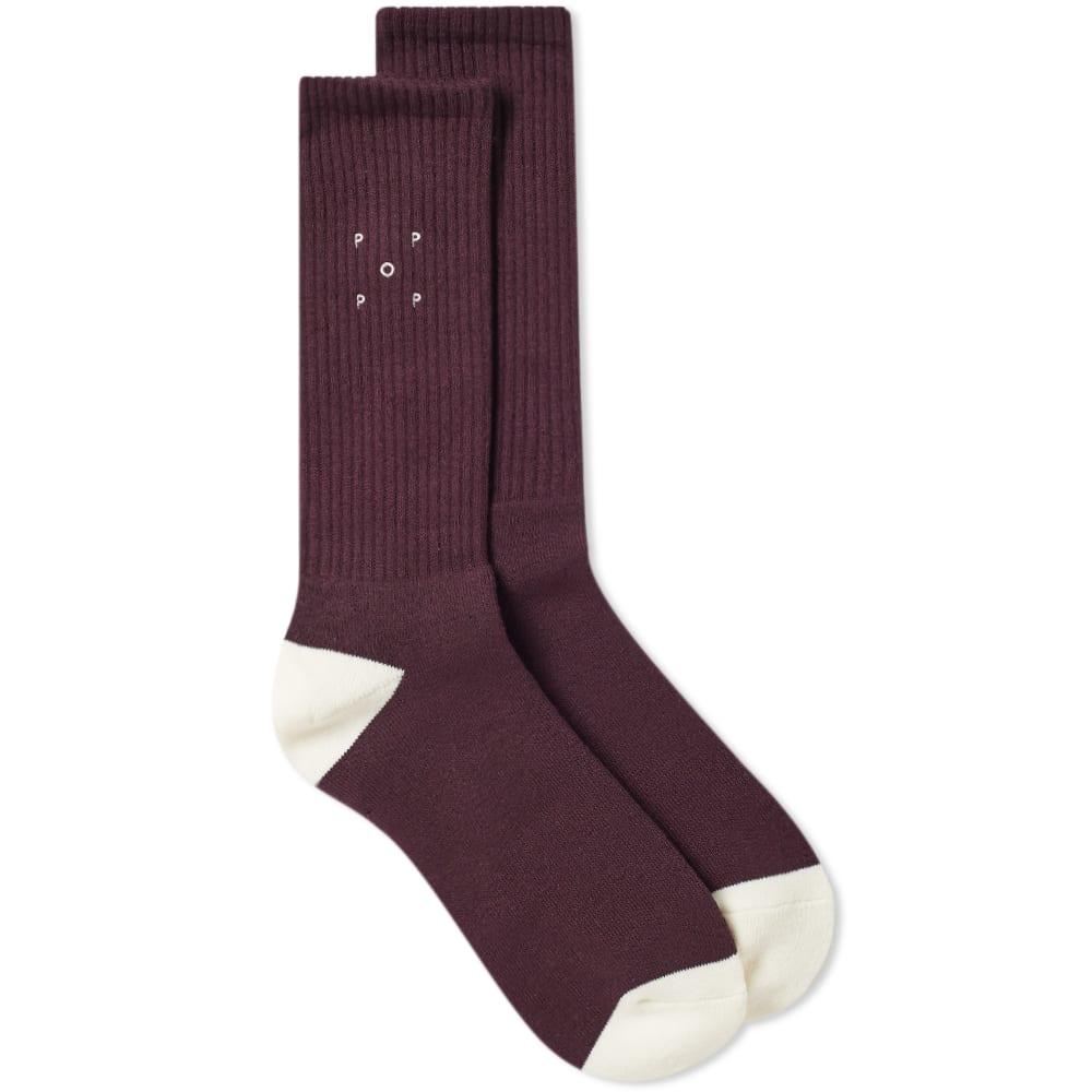 Pop Trading Company Logo Sock in Burgundy
