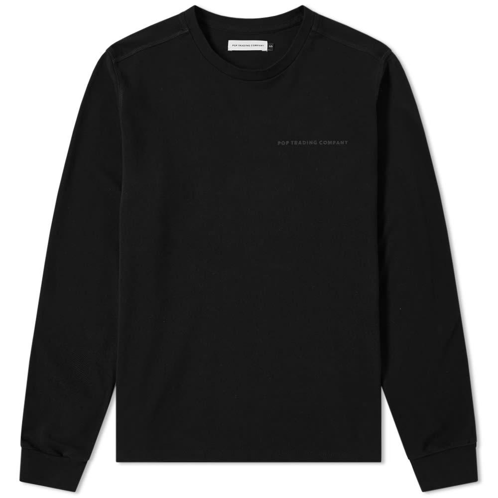 Pop Trading Company Long Sleeve Pique Logo Tee in Black