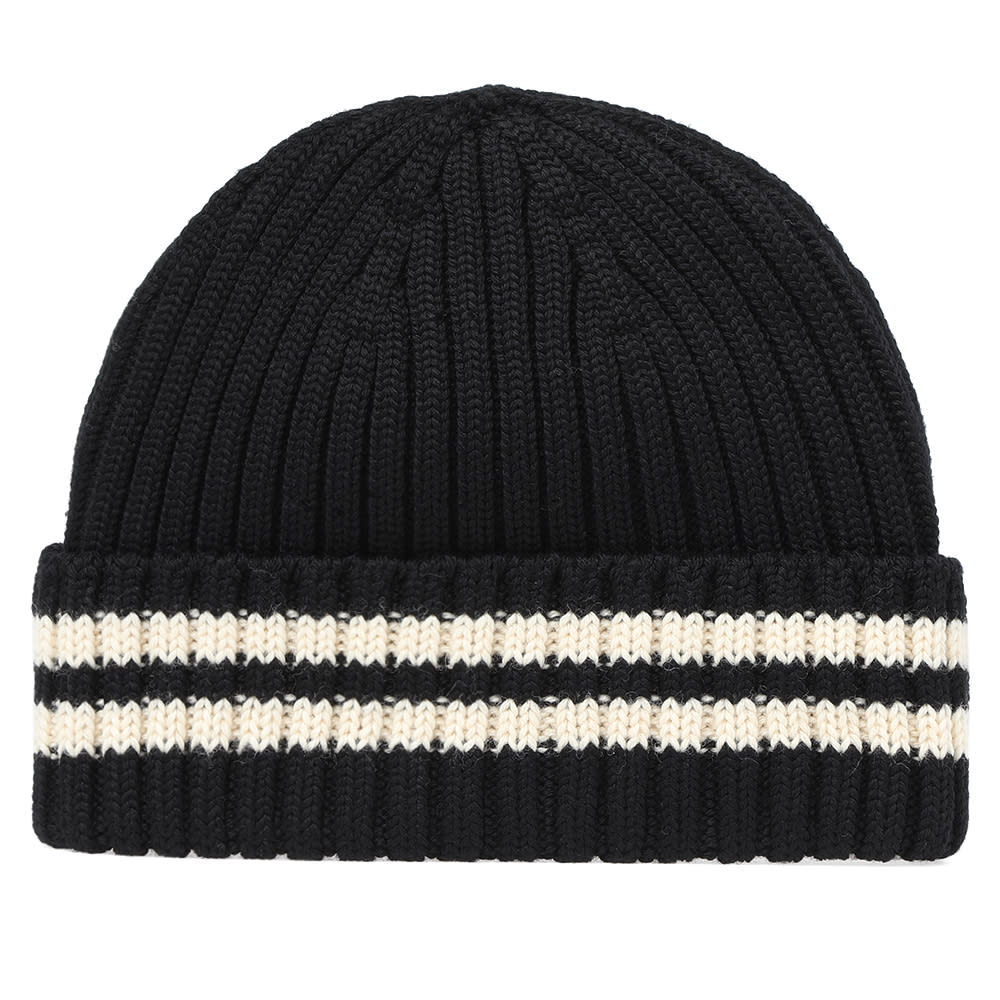 83e1e42f93d Junya Watanabe Striped-Edge Ribbed-Knit Wool Hat In 1 Black