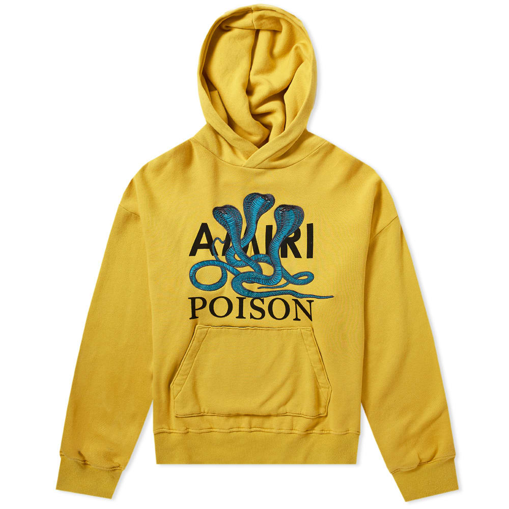 AMIRI Snake-Embroidered Cotton-Jersey Hoody in Yellow