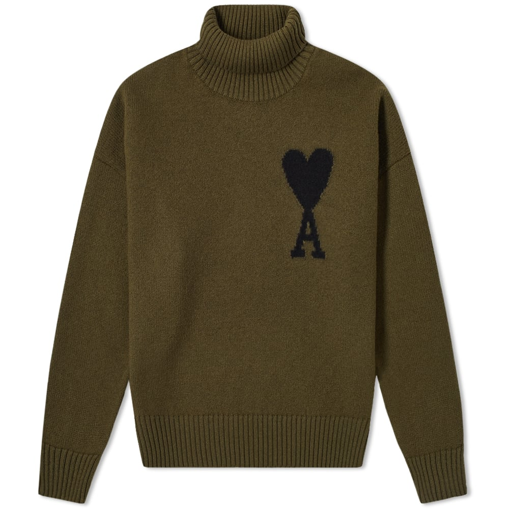 Ami A Heart Intarsia Roll Neck Knit by Ami
