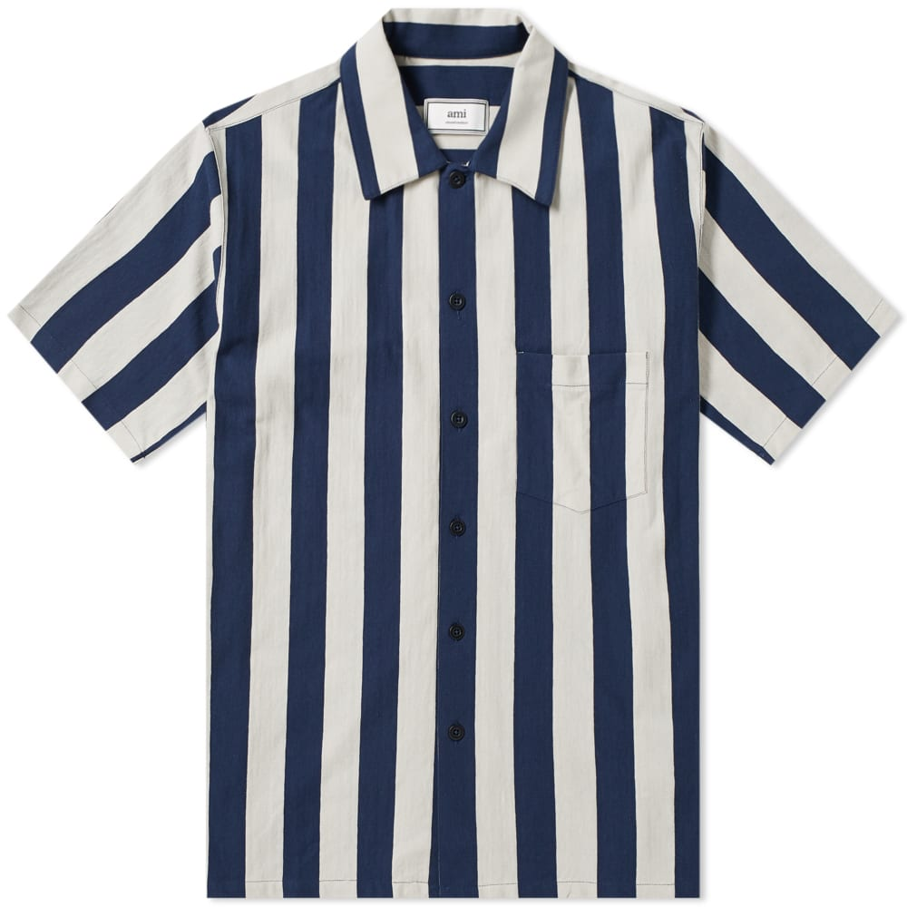 0dca7b7c416 AMI Short Sleeve Vertical Stripe Shirt