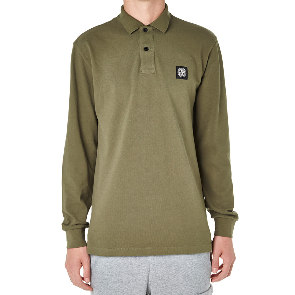 86a55b502eac Stone Island Long Sleeve Regular Fit Polo Olive   END.