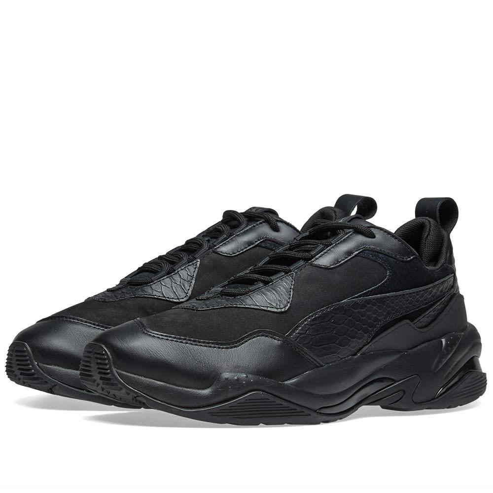 Men'S Thunder 2 Fashion Leather Trainer Sneakers, Black, Black/ Black