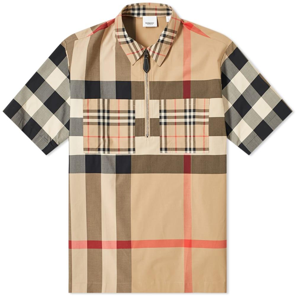 BURBERRY Burberry Short Sleeve Durham Half Zip Shirt