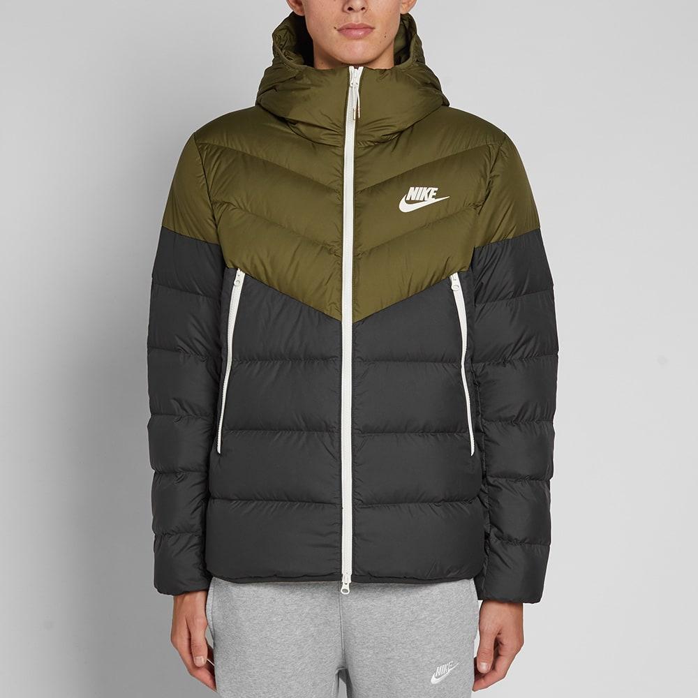 Nike Down Filled Hooded Windrunner Jacket Olive Canvas ...