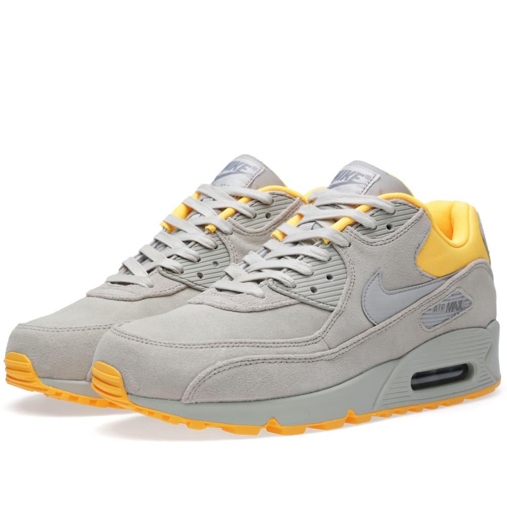Nike Footwear Air Max 90 Premium Trainers Platinum Grey Laser Orange