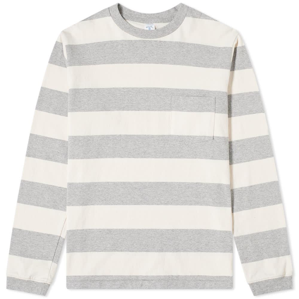 Velva Sheen Long Sleeve Wide Stripe Tee In Grey