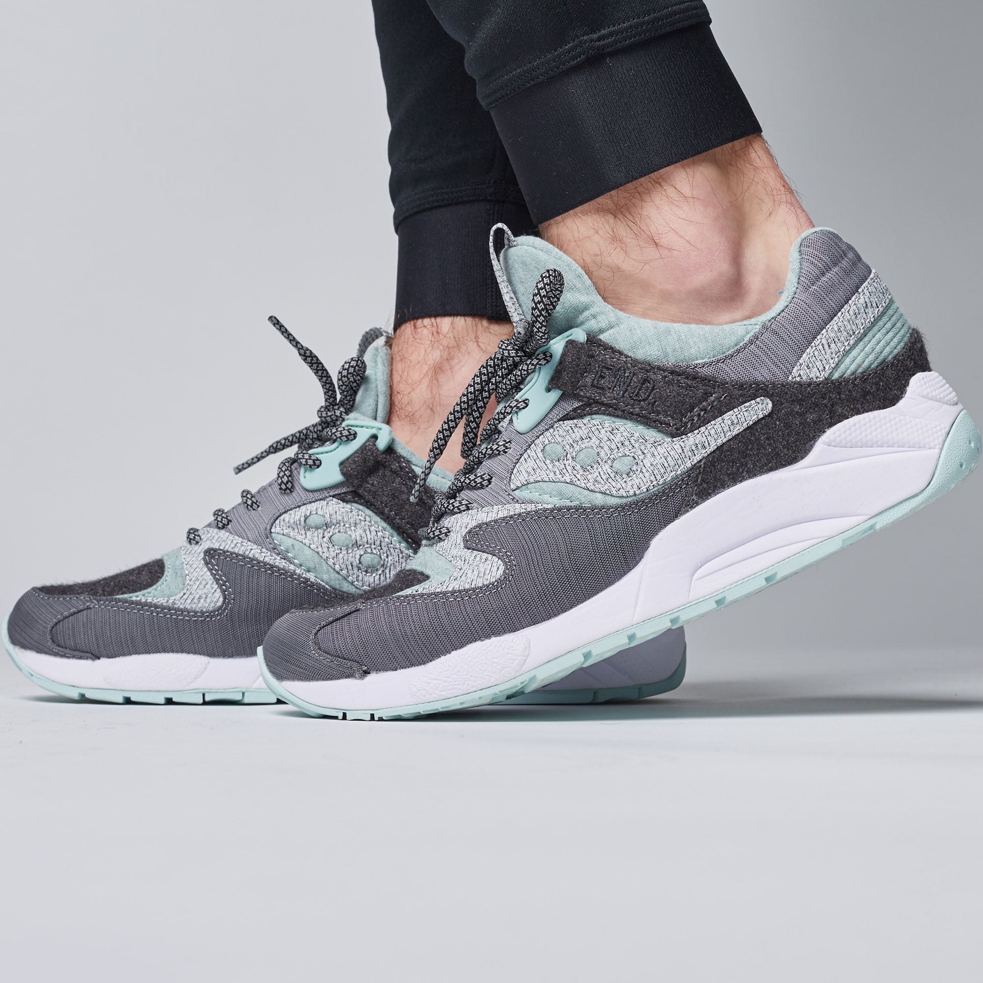 1ab60d8645f3 END. x Saucony Grid 9000  White Noise  Grey   White