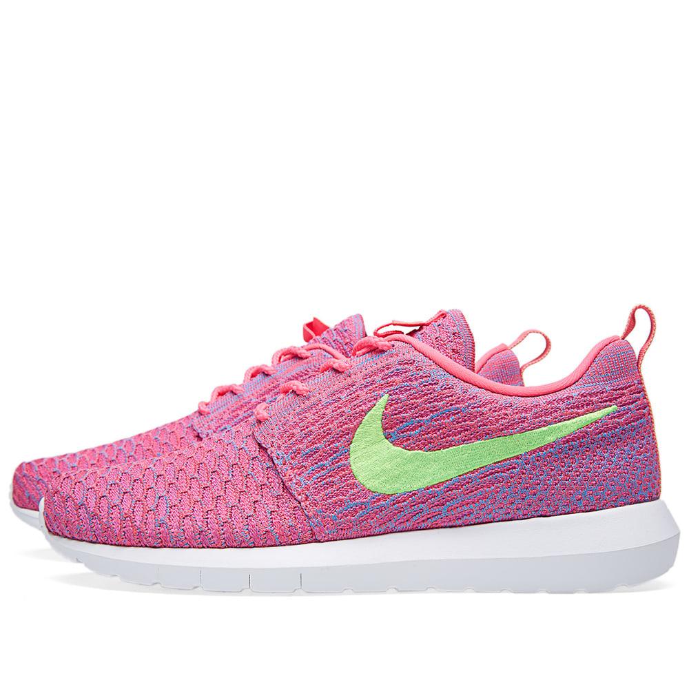81aa2869b4c32 Nike Flyknit Roshe Run Pink Flash   Flash Lime